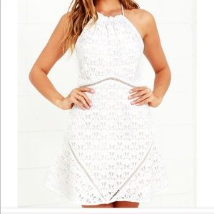 JOA white lace halter dress